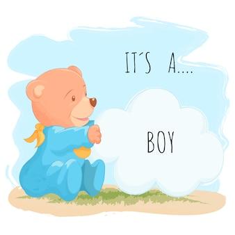 Śliczny dziecko niedźwiedź dla chłopiec