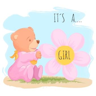Śliczny dziecko niedźwiedź dla dziewczynki