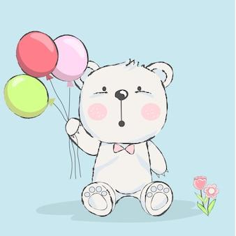 Śliczny dziecko niedźwiedź z balonową kreskówką