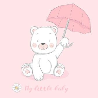 Śliczny dziecko niedźwiedź z parasolową kreskówką wręcza patroszonego styl