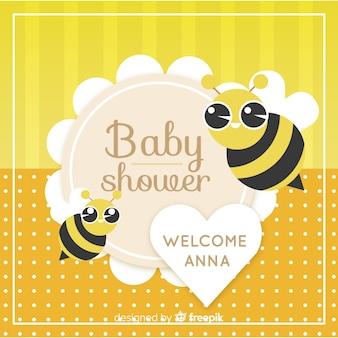 Śliczny dziecko prysznic szablon z pszczołami