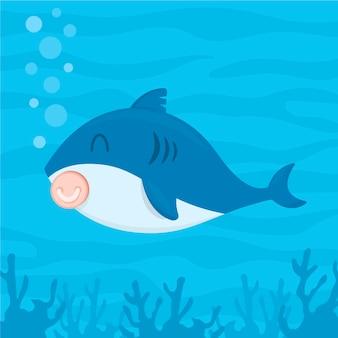 Śliczny dziecko rekina kreskówki projekt