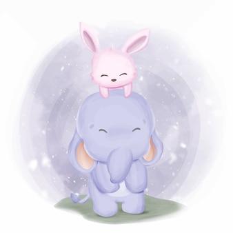 Śliczny dziecko słoń i królik