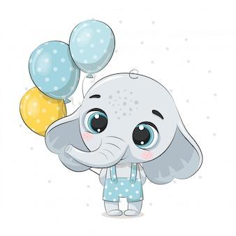 Śliczny dziecko słoń z balonami. ilustracja na chrzciny, kartkę z życzeniami, zaproszenie na przyjęcie, nadruk koszulki z modnymi ubraniami.