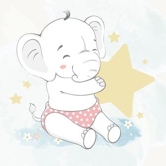 Śliczny dziecko słoń z gwiazdową ręka rysującą wodnego koloru kreskówki ilustracją