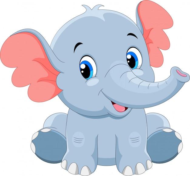 Śliczny dziecko słonia kreskówki obsiadanie