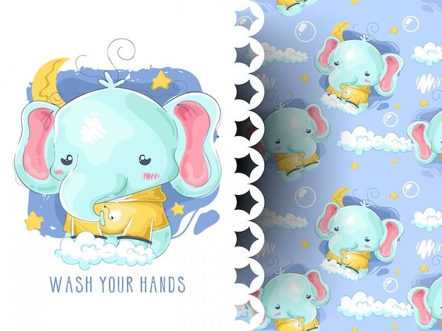Śliczny dziecko słonia myje ręka wzór