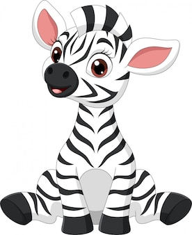 Śliczny dziecko zebry kreskówki obsiadanie