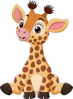 Śliczny dziecko żyrafy kreskówki obsiadanie