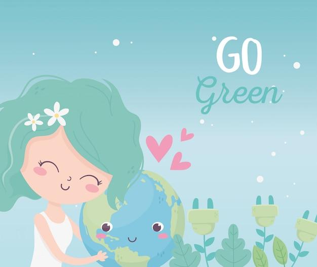 Śliczny dziewczyna świat zasadza natury miłości środowiska ekologię