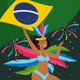 Śliczny dziewczyna tancerz z brazil flaga i piórkami