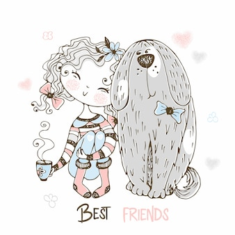 Śliczny dziewczyny obsiadanie z jej zwierzę domowe dużym psem. najlepsi przyjaciele.