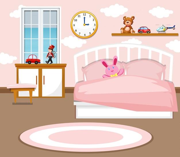 Śliczny dziewczyny sypialni tło
