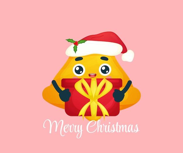 Śliczny dzwonek przytulający świąteczny prezent na wesołą ilustrację świąteczną premium wektorów