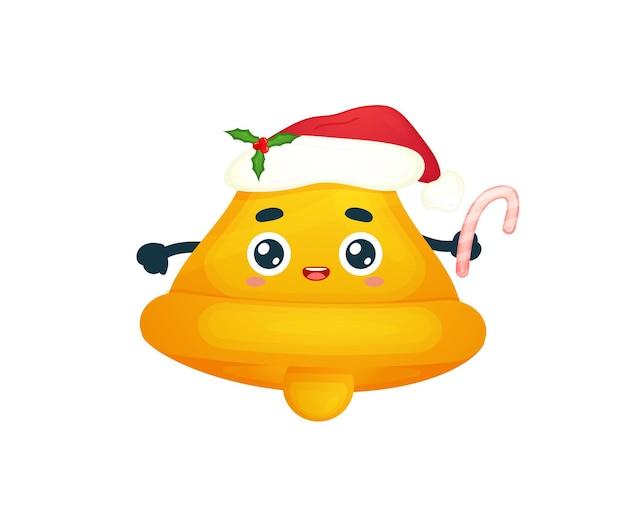 Śliczny dzwonek trzymający trzcinę cukrową z czapką mikołaja na wesołą ilustrację świąteczną premium wektor