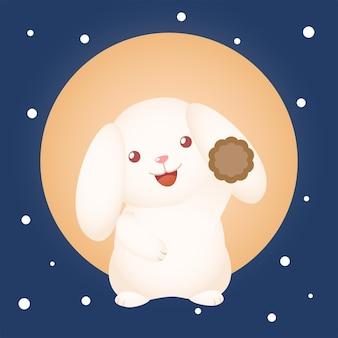 Śliczny festiwal w połowie jesieni królik z długimi uchem, trzymający ciasto księżycowe z dużym księżycowym tłem