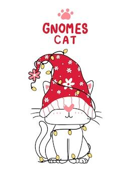Śliczny gnom kot kreskówka z lampką bożonarodzeniową, ładny kot clipart zwierząt, powitanie świąteczne.