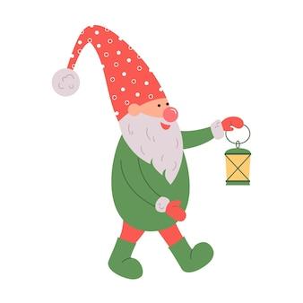 Śliczny gnom w santa hat na białym tle skandynawski świąteczny elf ilustracja wektorowa