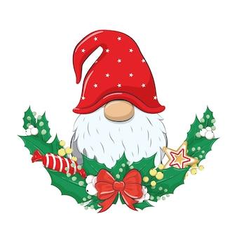 Śliczny gnom z wieńcem bożonarodzeniowym.