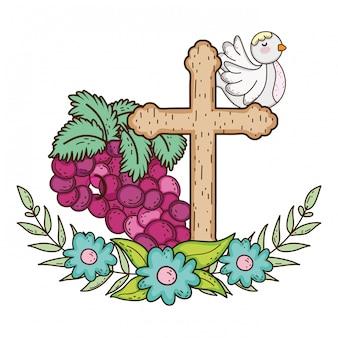 Śliczny gołąbki ptak z winogron owoc