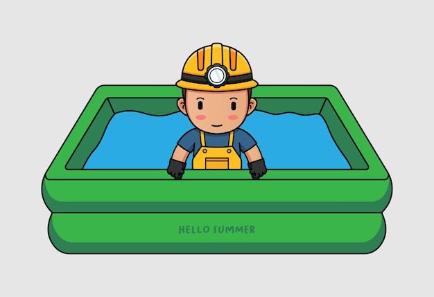 Śliczny górnik pływający z powitalnym letnim banerem powitalnym