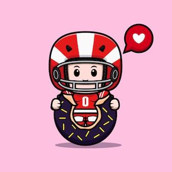 Śliczny gracz futbolu amerykańskiego jedzący ilustrację maskotki pączka