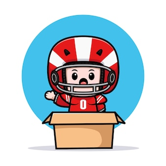 Śliczny gracz futbolu amerykańskiego macha ręką wewnątrz pudełka maskotki ilustracji
