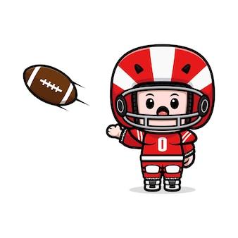 Śliczny gracz futbolu amerykańskiego rzuca piłkę maskotką ilustracją
