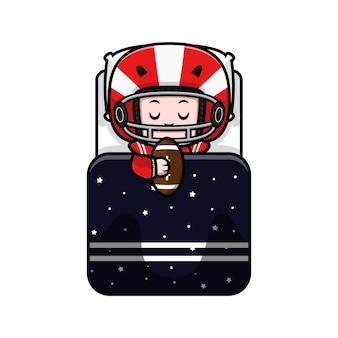 Śliczny gracz futbolu amerykańskiego śpi maskotka ilustracja