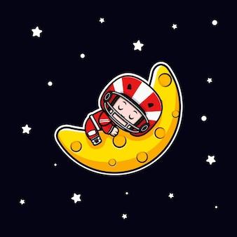 Śliczny gracz futbolu amerykańskiego śpi na ilustracji maskotki księżyca