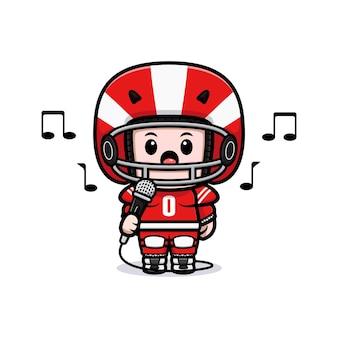 Śliczny gracz futbolu amerykańskiego śpiewa na ilustracji maskotki mikrofonu