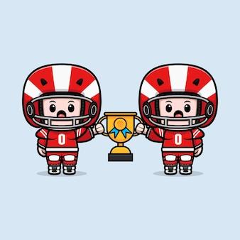 Śliczny gracz futbolu amerykańskiego trzyma trofeum maskotka ilustracja