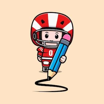 Śliczny gracz futbolu amerykańskiego trzymający dużą ołówkową maskotkę ilustrację