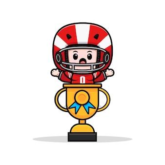 Śliczny gracz futbolu amerykańskiego wewnątrz ilustracji maskotki trofeum