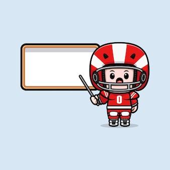 Śliczny gracz futbolu amerykańskiego z pustą białą tablicą maskotką ilustracją