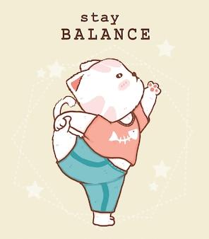 Śliczny gruby biały kot uprawia jogę na stojąco ze słowem stay balance, pomysł na kartkę z życzeniami, drukowanie jogi
