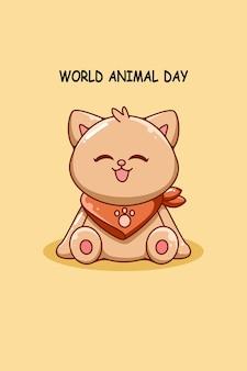 Śliczny gruby kot w ilustracja kreskówka światowego dnia zwierząt