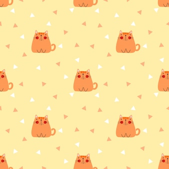 Śliczny gruby kota bezszwowy wzór