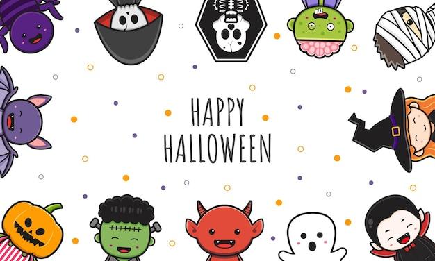 Śliczny halloweenowy charakter tła transparent kreskówka ilustracja płaski styl kreskówki