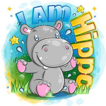 Śliczny hipopotam czuje się szczęśliwy