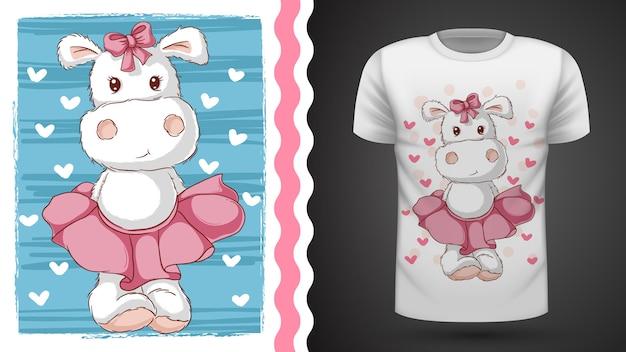 Śliczny hipopotam - pomysł na t-shirt z nadrukiem