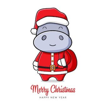 Śliczny hipopotam santa pozdrowienie wesołych świąt i szczęśliwego nowego roku kreskówka doodle ilustracja karta