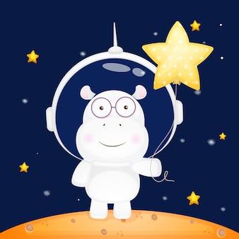 Śliczny hipopotam trzymający gwiezdny balon w hełmie astronauty postać z kreskówki dla zwierząt premium vect