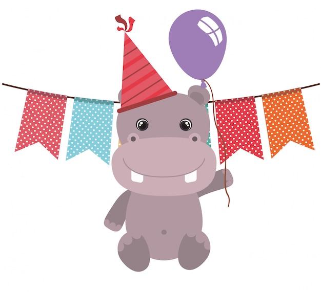 Śliczny hipopotam z helowym balonem