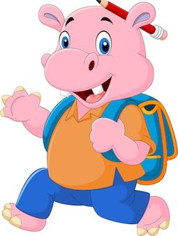 Śliczny hipopotam z plecakiem