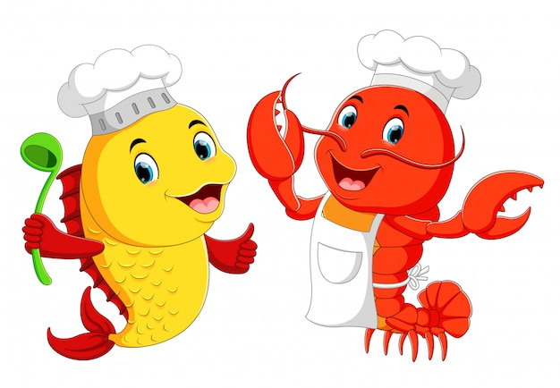 Śliczny homar szef kuchni i ryba szefa kuchni kreskówka