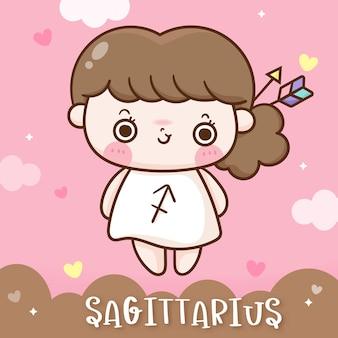 Śliczny horoskop zodiaku strzelca w stylu doodle kawaii cartoon