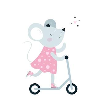 Śliczny hulajnoga do myszy myśliwskich