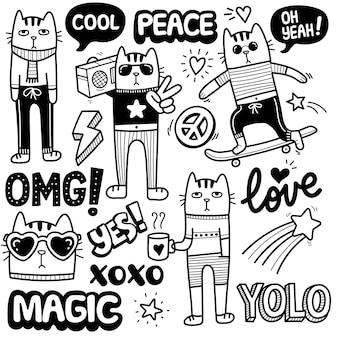 Śliczny i funky kot czarno-biały ilustracja doodle