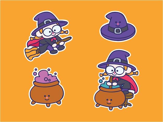 Śliczny i kawaii zestaw ilustracji naklejek czarownicy